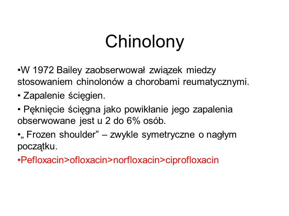 Chinolony W 1972 Bailey zaobserwował związek miedzy stosowaniem chinolonów a chorobami reumatycznymi. Zapalenie ścięgien. Pęknięcie ścięgna jako powik