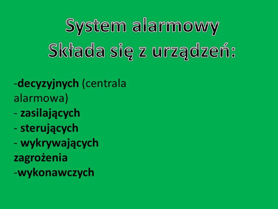 -decyzyjnych (centrala alarmowa) - zasilających - sterujących - wykrywających zagrożenia -wykonawczych
