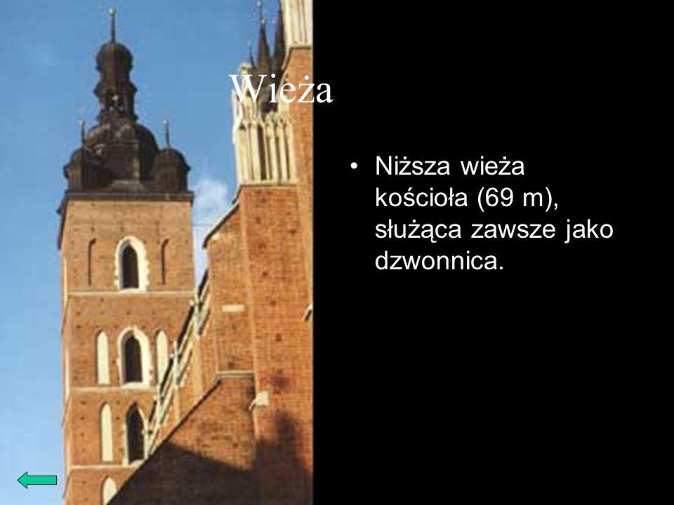 Wieża niższa Niższa wieża kościoła (69 m), służąca zawsze jako dzwonnica.