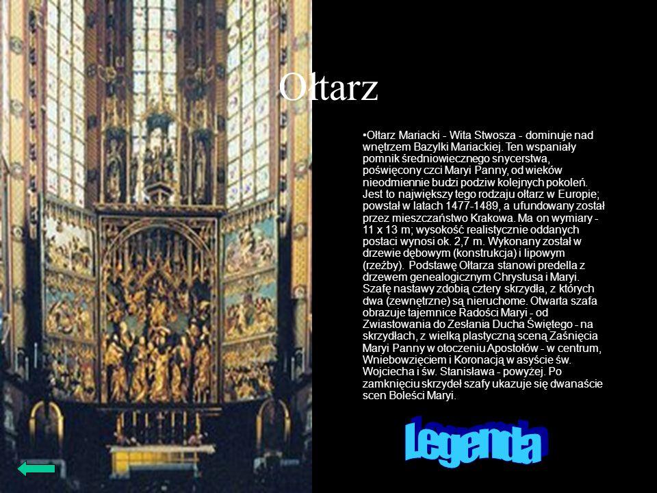 Ołtarz Ołtarz Mariacki - Wita Stwosza - dominuje nad wnętrzem Bazylki Mariackiej. Ten wspaniały pomnik średniowiecznego snycerstwa, poświęcony czci Ma