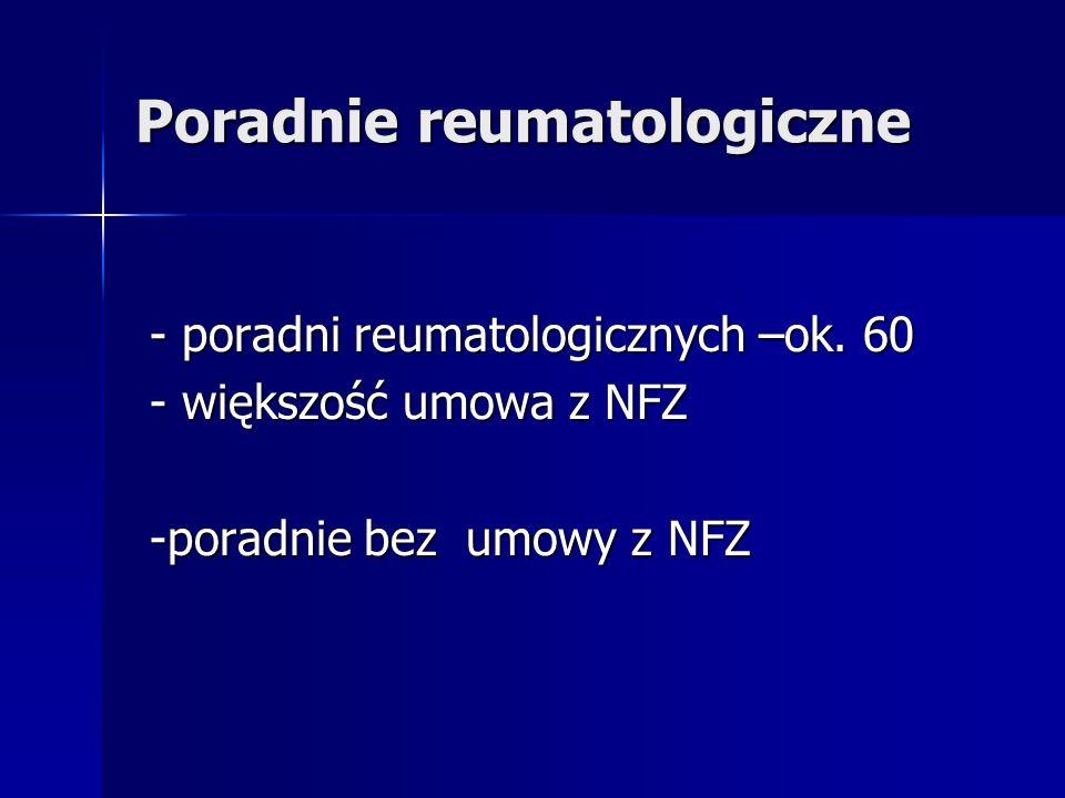 Poradnie reumatologiczne - poradni reumatologicznych –ok. 60 - poradni reumatologicznych –ok. 60 - większość umowa z NFZ - większość umowa z NFZ -pora