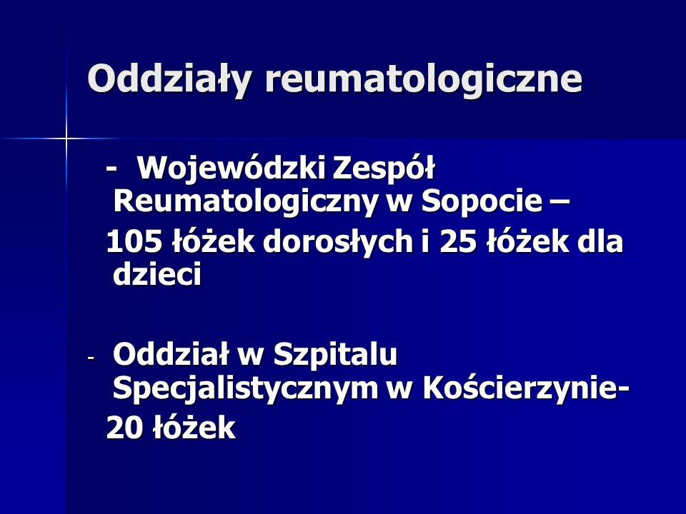 Oddziały reumatologiczne - Wojewódzki Zespół Reumatologiczny w Sopocie – - Wojewódzki Zespół Reumatologiczny w Sopocie – 105 łóżek dorosłych i 25 łóże