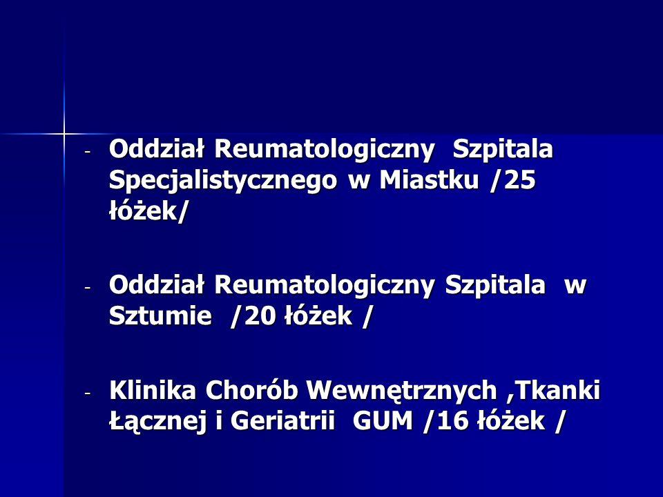 - Oddział Reumatologiczny Szpitala Specjalistycznego w Miastku /25 łóżek/ - Oddział Reumatologiczny Szpitala w Sztumie /20 łóżek / - Klinika Chorób We