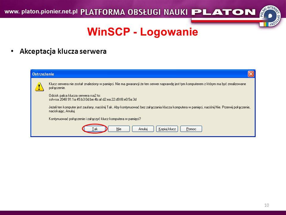 10 WinSCP - Logowanie Akceptacja klucza serwera