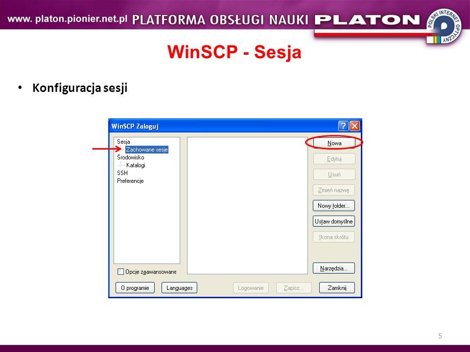 5 WinSCP - Sesja Konfiguracja sesji