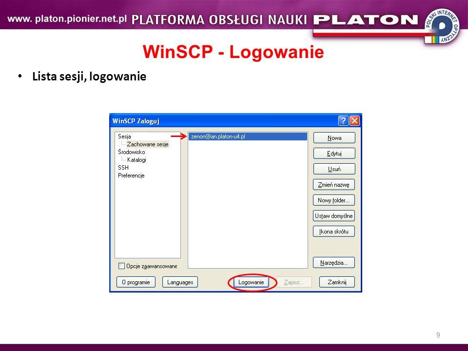 9 WinSCP - Logowanie Lista sesji, logowanie