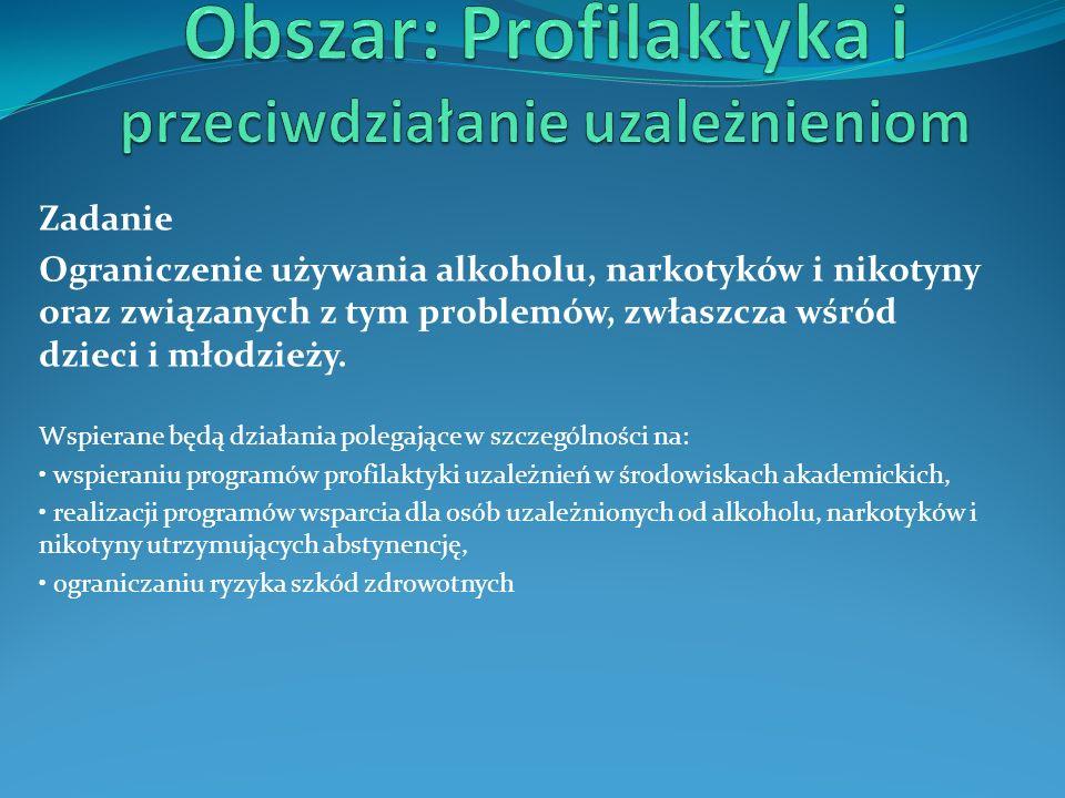 Zadanie Ograniczenie używania alkoholu, narkotyków i nikotyny oraz związanych z tym problemów, zwłaszcza wśród dzieci i młodzieży. Wspierane będą dzia