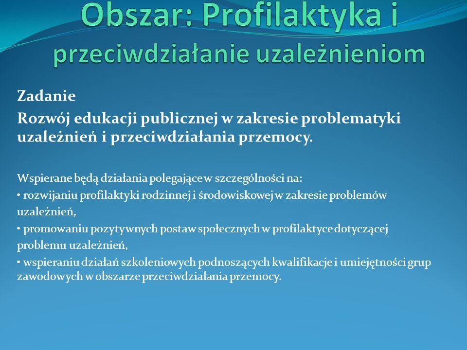 Zadanie Rozwój edukacji publicznej w zakresie problematyki uzależnień i przeciwdziałania przemocy. Wspierane będą działania polegające w szczególności