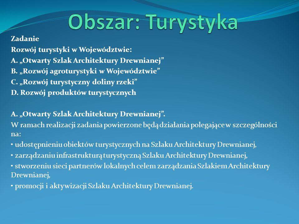 Zadanie Rozwój turystyki w Województwie: A. Otwarty Szlak Architektury Drewnianej B. Rozwój agroturystyki w Województwie C. Rozwój turystyczny doliny