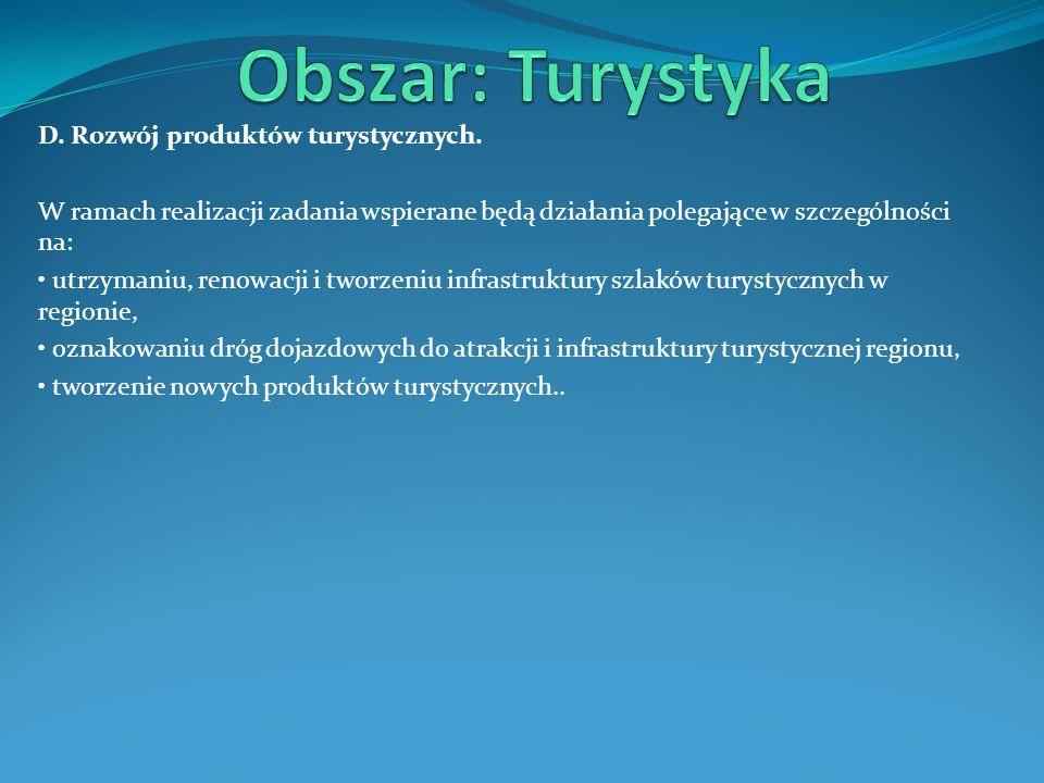 D. Rozwój produktów turystycznych. W ramach realizacji zadania wspierane będą działania polegające w szczególności na: utrzymaniu, renowacji i tworzen