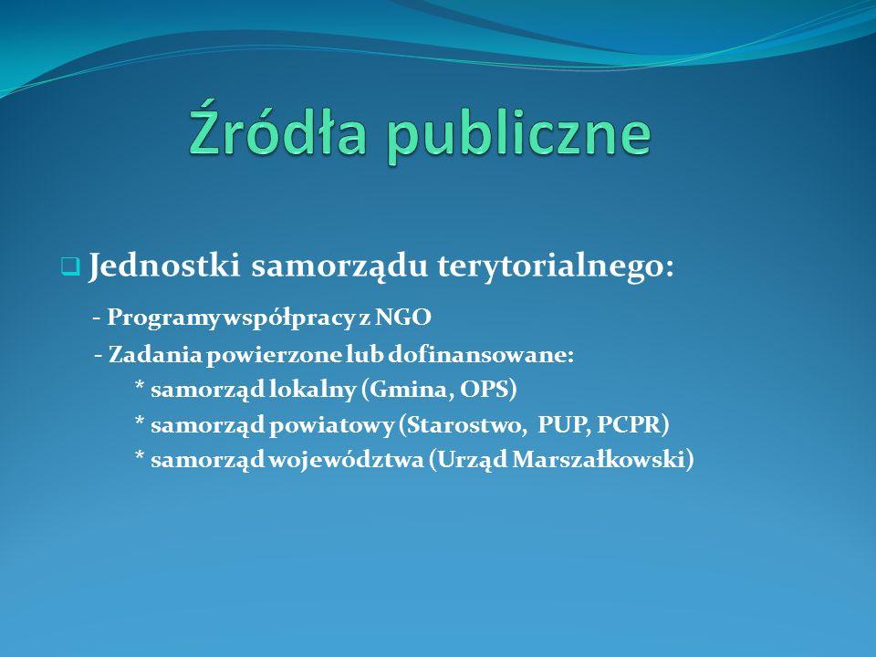 Jednostki samorządu terytorialnego: - Programy współpracy z NGO - Zadania powierzone lub dofinansowane: * samorząd lokalny (Gmina, OPS) * samorząd pow