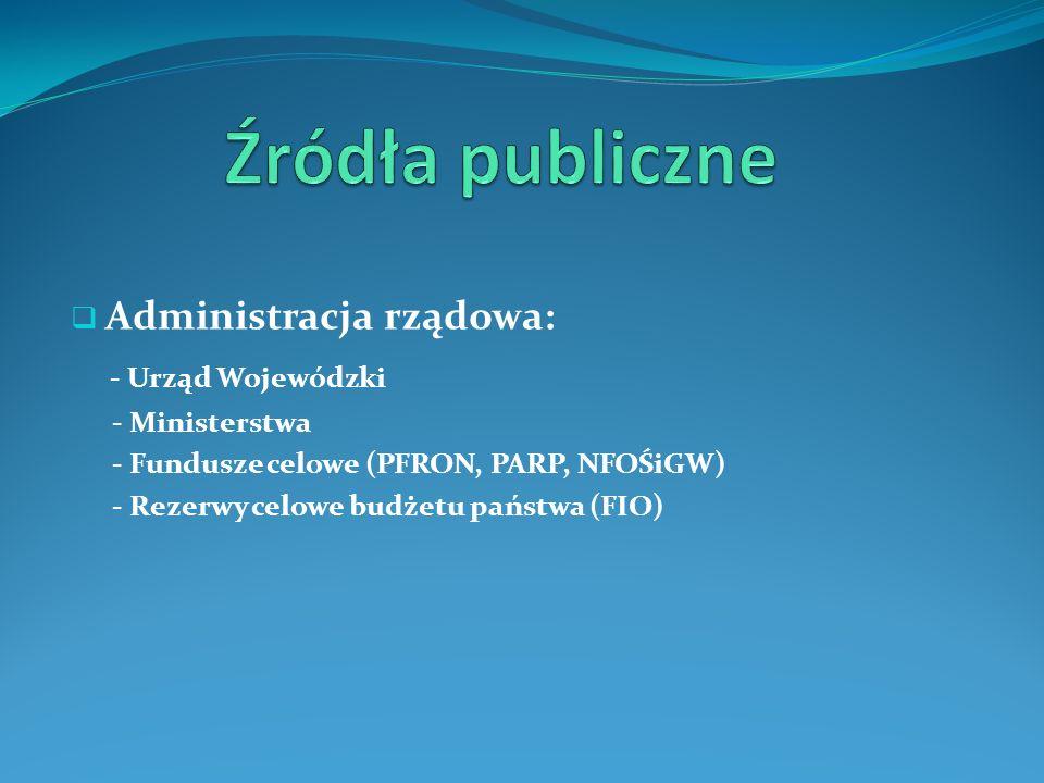 Administracja rządowa: - Urząd Wojewódzki - Ministerstwa - Fundusze celowe (PFRON, PARP, NFOŚiGW) - Rezerwy celowe budżetu państwa (FIO)
