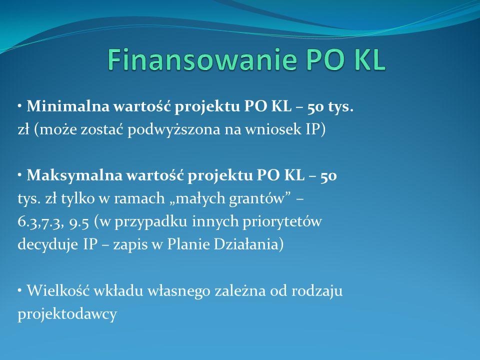 Minimalna wartość projektu PO KL – 50 tys. zł (może zostać podwyższona na wniosek IP) Maksymalna wartość projektu PO KL – 50 tys. zł tylko w ramach ma