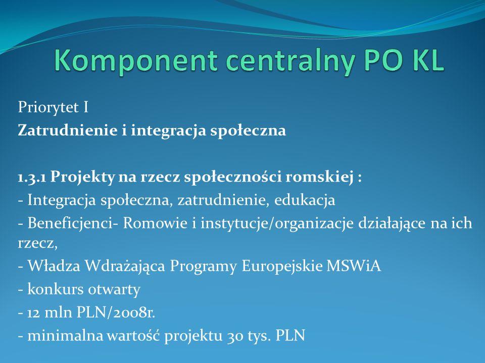 Priorytet I Zatrudnienie i integracja społeczna 1.3.1 Projekty na rzecz społeczności romskiej : - Integracja społeczna, zatrudnienie, edukacja - Benef