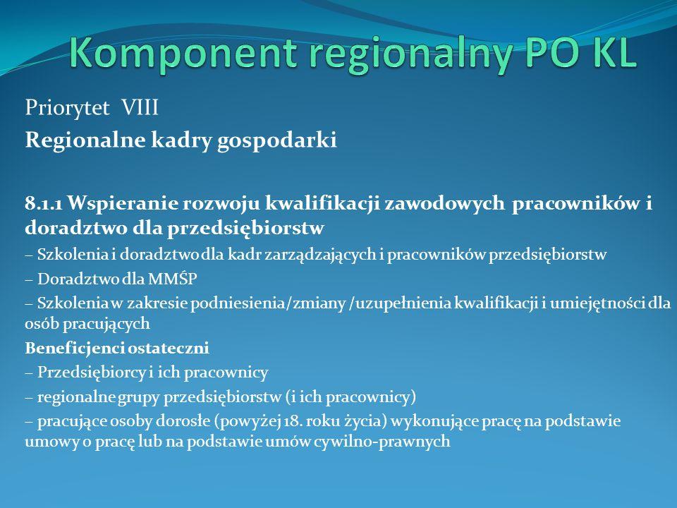 Priorytet VIII Regionalne kadry gospodarki 8.1.1 Wspieranie rozwoju kwalifikacji zawodowych pracowników i doradztwo dla przedsiębiorstw – Szkolenia i