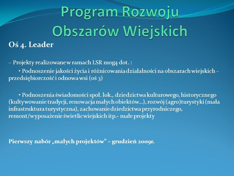 Oś 4. Leader – Projekty realizowane w ramach LSR mogą dot. : Podnoszenie jakości życia i różnicowania działalności na obszarach wiejskich – przedsiębi