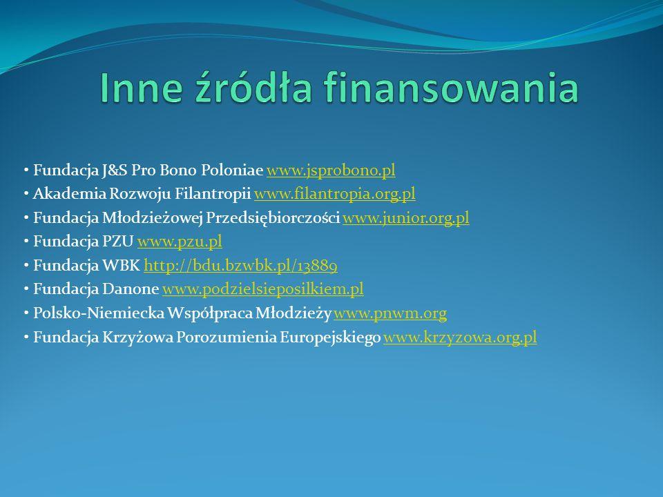 Fundacja J&S Pro Bono Poloniae www.jsprobono.plwww.jsprobono.pl Akademia Rozwoju Filantropii www.filantropia.org.plwww.filantropia.org.pl Fundacja Mło