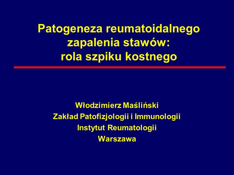Błona maziowa w RZS Płyn stawowy RZS chrząstka Zdrowy staw RZS Synowiocyty makrofagalne Synowiocyty fibroblastyczne Aktywowane: synowiocyty makrofagalne synowiocyty fibroblastyczne, makrofagi, limfocyty T, limfocyty B, komórki: NK, tuczne, plazmatyczne, angiogeneza Aktywowane: Granulocyty, limfocyty T, limfocyty B, makrofagi komórki NK, płytki krwi Zdegradowana: chrząstka kość Zdrowa błona maziowa Spoczynkowe: Modified from Panayi et al.