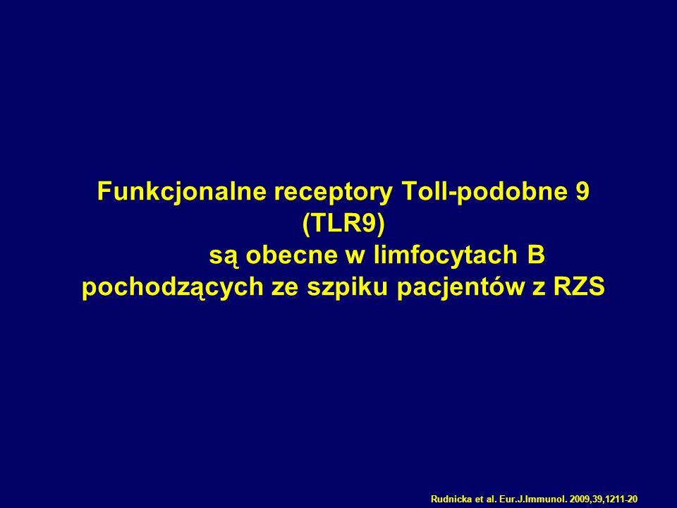 Funkcjonalne receptory Toll-podobne 9 (TLR9) są obecne w limfocytach B pochodzących ze szpiku pacjentów z RZS Rudnicka et al. Eur.J.Immunol. 2009,39,1