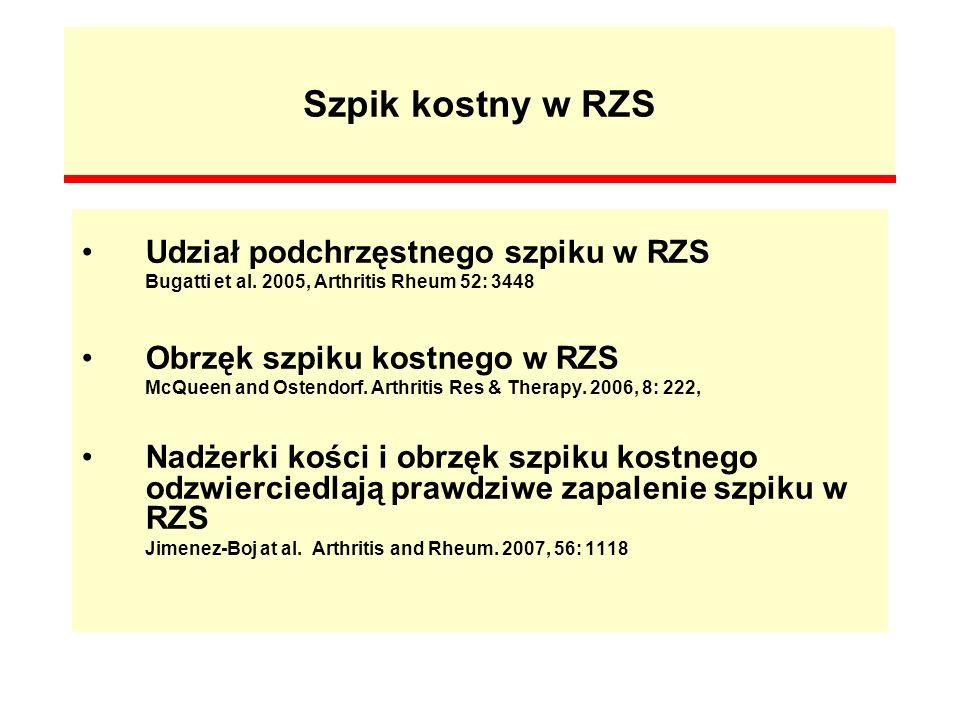 Szpik kostny w RZS Udział podchrzęstnego szpiku w RZS Bugatti et al. 2005, Arthritis Rheum 52: 3448 Obrzęk szpiku kostnego w RZS McQueen and Ostendorf