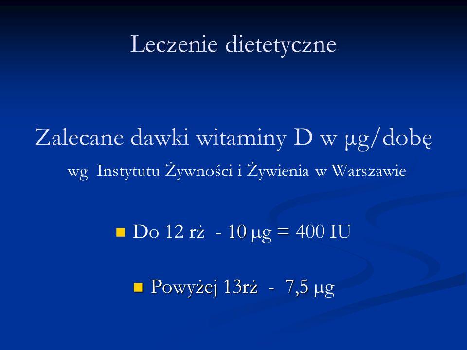 Leczenie dietetyczne Zalecane dawki witaminy D w μg/dobę wg Instytutu Żywności i Żywienia w Warszawie 10= Do 12 rż - 10 µg = 400 IU Powyżej 13rż - 7,5