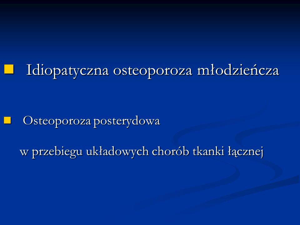 Idiopatyczna osteoporoza młodzieńcza Idiopatyczna osteoporoza młodzieńcza Osteoporoza samoistna, pierwotna Osteoporoza samoistna, pierwotna pierwszy opis: Schippers 1938r Dzieci Dzieci wcześniej zdrowe Przed okresem pokwitania (1-13; 5-17rż) Przed okresem pokwitania (1-13; 5-17rż) = = Częstość występowania .