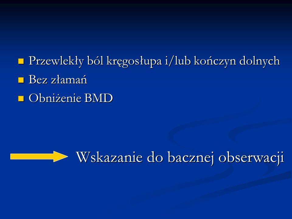 Przewlekły ból kręgosłupa i/lub kończyn dolnych Przewlekły ból kręgosłupa i/lub kończyn dolnych Bez złamań Bez złamań Obniżenie BMD Obniżenie BMD Wska