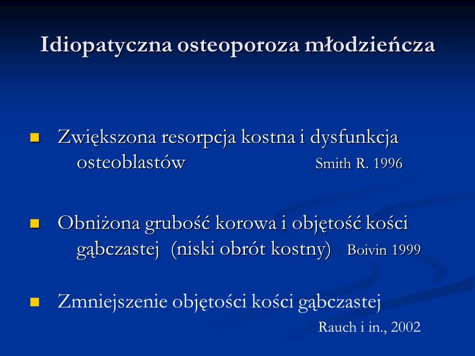 Idiopatyczna osteoporoza młodzieńcza Zwiększona resorpcja kostna i dysfunkcja osteoblastów Smith R. 1996 Zwiększona resorpcja kostna i dysfunkcja oste