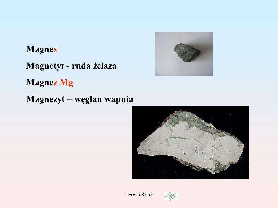 Teresa Ryba Magnes Magnetyt - ruda żelaza Magnez Mg Magnezyt – węglan wapnia