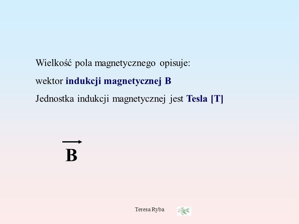 Teresa Ryba Wielkość pola magnetycznego opisuje: wektor indukcji magnetycznej B Jednostka indukcji magnetycznej jest Tesla [T] B