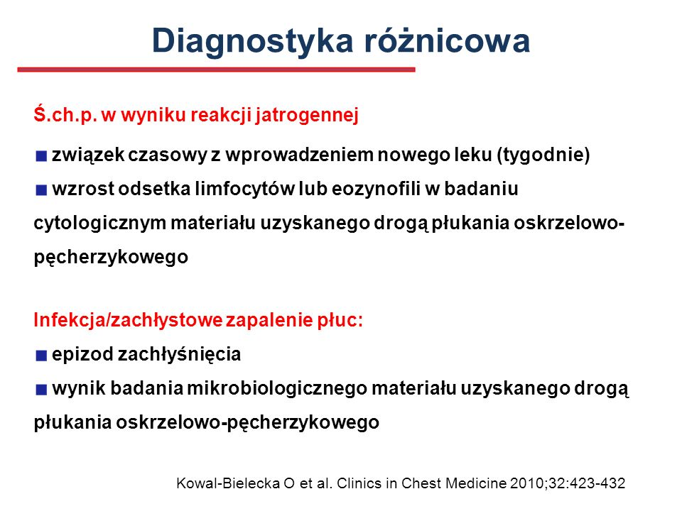 Diagnostyka różnicowa Infekcja/zachłystowe zapalenie płuc: epizod zachłyśnięcia wynik badania mikrobiologicznego materiału uzyskanego drogą płukania o