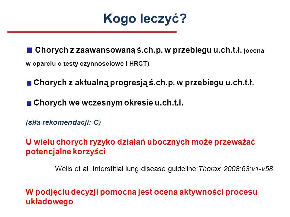 Kogo leczyć? Chorych z zaawansowaną ś.ch.p. w przebiegu u.ch.t.ł. (ocena w oparciu o testy czynnościowe i HRCT) Chorych z aktualną progresją ś.ch.p. w