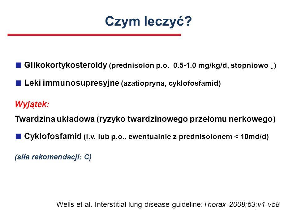 Czym leczyć? Glikokortykosteroidy (prednisolon p.o. 0.5-1.0 mg/kg/d, stopniowo ) Leki immunosupresyjne (azatiopryna, cyklofosfamid) Wyjątek: Twardzina
