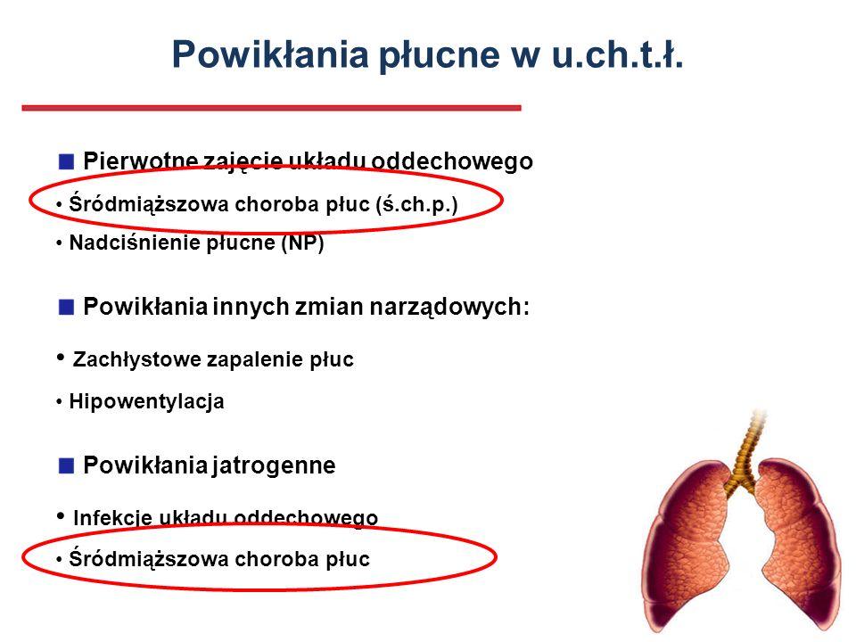 Powikłania płucne w u.ch.t.ł. Pierwotne zajęcie układu oddechowego Śródmiąższowa choroba płuc (ś.ch.p.) Nadciśnienie płucne (NP) Powikłania innych zmi