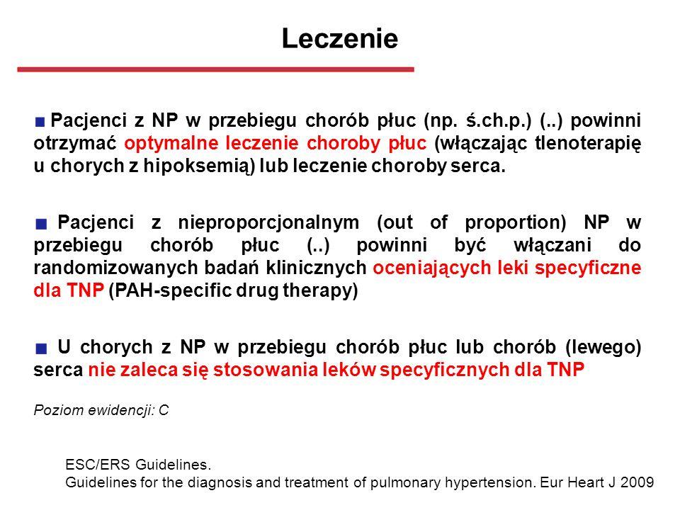 Leczenie Pacjenci z NP w przebiegu chorób płuc (np. ś.ch.p.) (..) powinni otrzymać optymalne leczenie choroby płuc (włączając tlenoterapię u chorych z