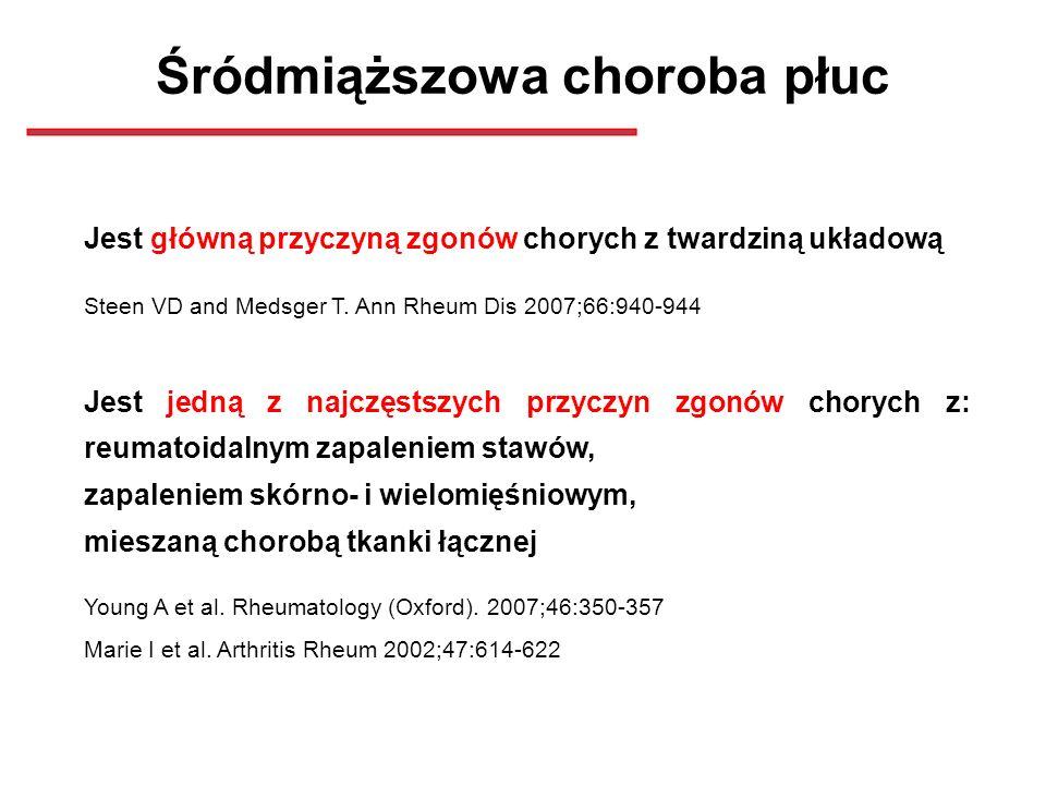 Śródmiąższowa choroba płuc Jest główną przyczyną zgonów chorych z twardziną układową Steen VD and Medsger T. Ann Rheum Dis 2007;66:940-944 Jest jedną