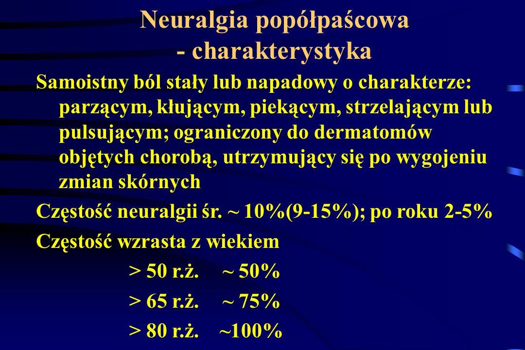 Neuralgia popółpaścowa - charakterystyka Samoistny ból stały lub napadowy o charakterze: parzącym, kłującym, piekącym, strzelającym lub pulsującym; og