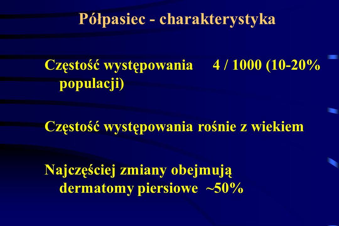 Półpasiec - charakterystyka Częstość występowania 4 / 1000 (10-20% populacji) Częstość występowania rośnie z wiekiem Najczęściej zmiany obejmują derma