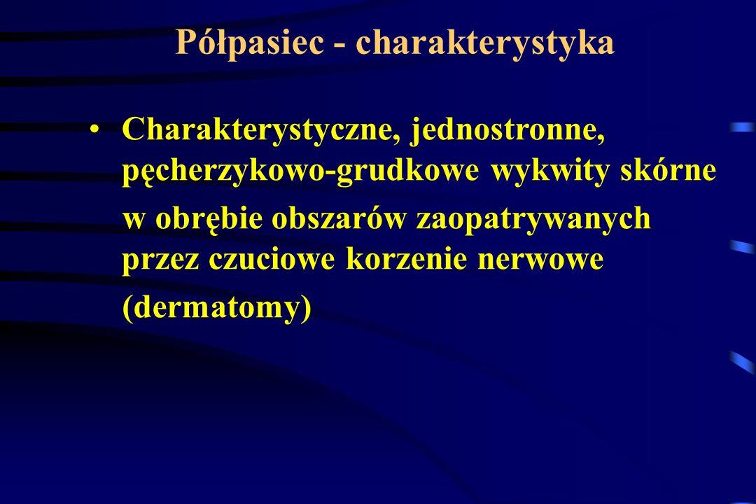 Charakterystyczne, jednostronne, pęcherzykowo-grudkowe wykwity skórne w obrębie obszarów zaopatrywanych przez czuciowe korzenie nerwowe (dermatomy) Pó