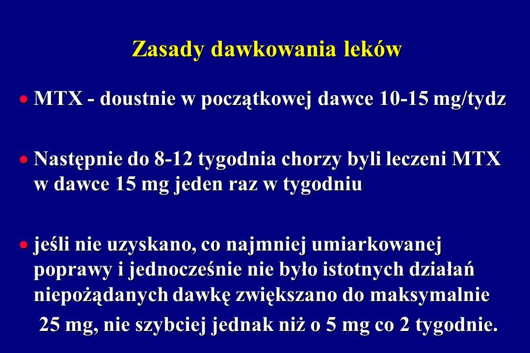 Zasady dawkowania leków MTX - doustnie w początkowej dawce 10-15 mg/tydz MTX - doustnie w początkowej dawce 10-15 mg/tydz Następnie do 8-12 tygodnia c