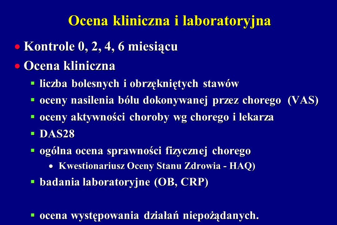 Ocena kliniczna i laboratoryjna Kontrole 0, 2, 4, 6 miesiącu Kontrole 0, 2, 4, 6 miesiącu Ocena kliniczna Ocena kliniczna liczba bolesnych i obrzęknię