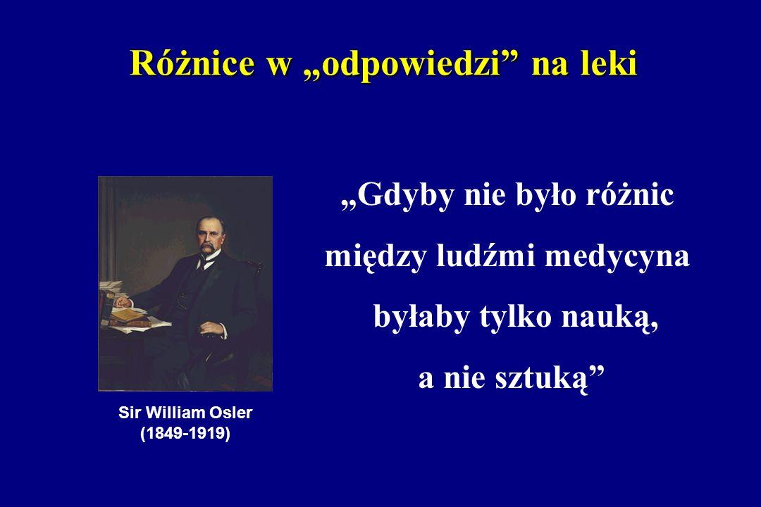 Różnice w odpowiedzi na leki Sir William Osler (1849-1919) Gdyby nie było różnic między ludźmi medycyna byłaby tylko nauką, a nie sztuką