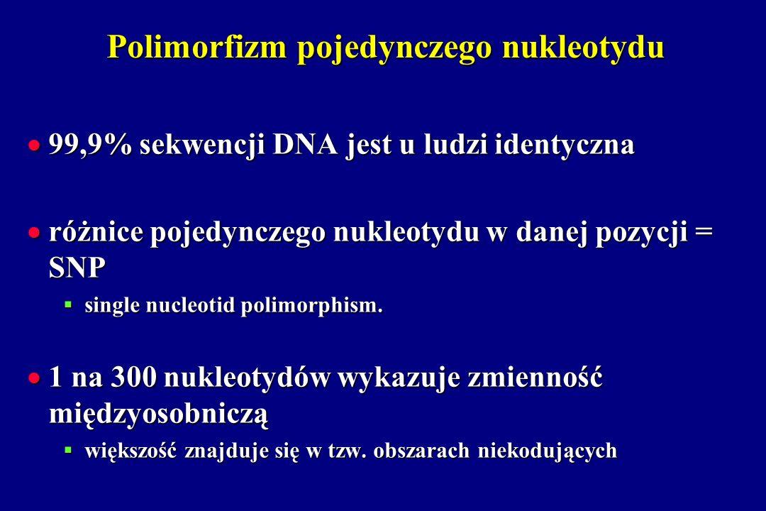 Polimorfizm pojedynczego nukleotydu 99,9% sekwencji DNA jest u ludzi identyczna 99,9% sekwencji DNA jest u ludzi identyczna różnice pojedynczego nukle