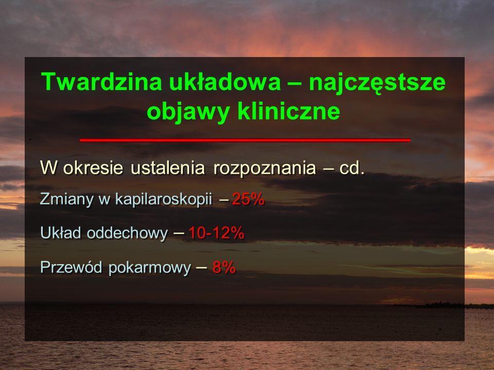 Twardzina układowa – najczęstsze objawy kliniczne W okresie ustalenia rozpoznania – cd. Zmiany w kapilaroskopii – 25% Układ oddechowy – 10-12% Przewód