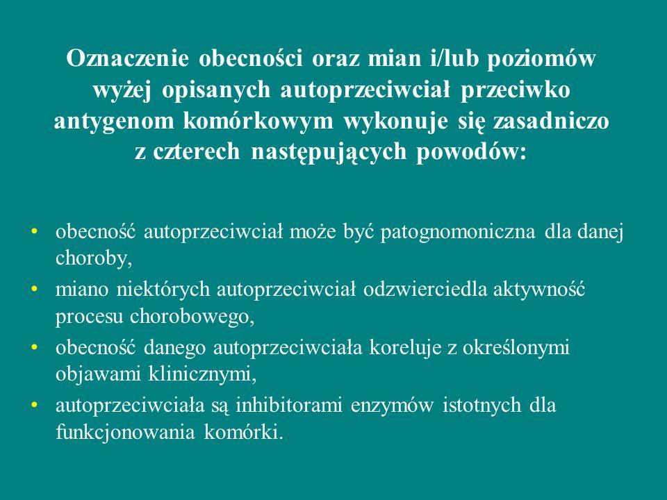 Oznaczenie obecności oraz mian i/lub poziomów wyżej opisanych autoprzeciwciał przeciwko antygenom komórkowym wykonuje się zasadniczo z czterech następ
