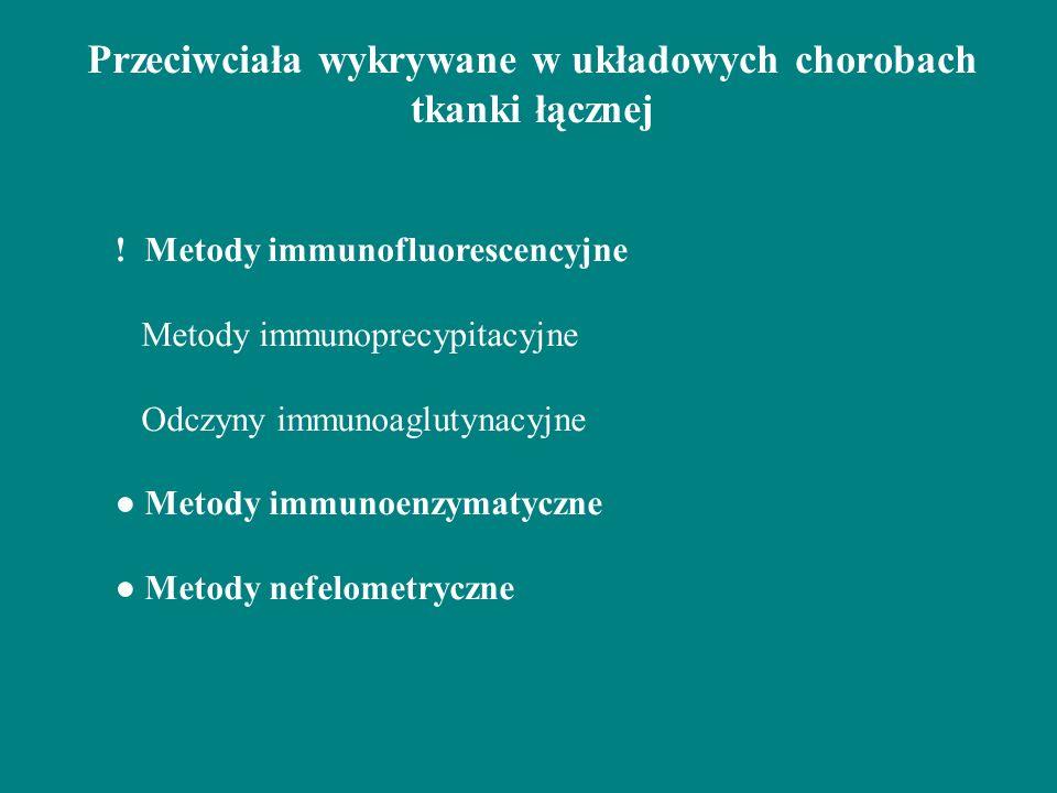 Przeciwciała wykrywane w układowych chorobach tkanki łącznej ! Metody immunofluorescencyjne Metody immunoprecypitacyjne Odczyny immunoaglutynacyjne Me