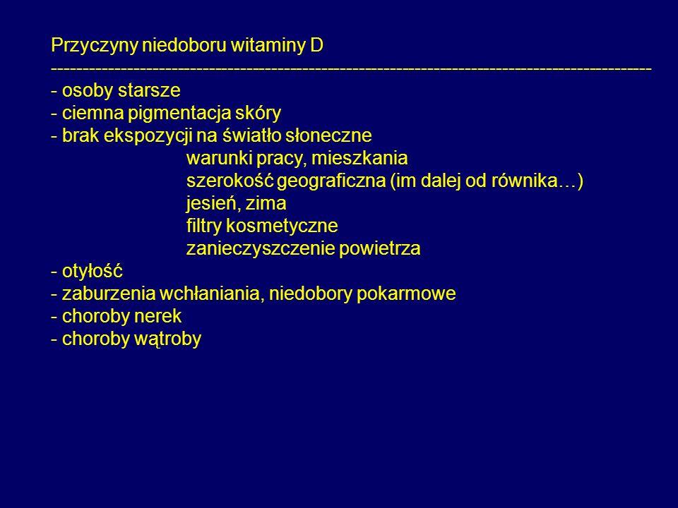 Przyczyny niedoboru witaminy D ------------------------------------------------------------------------------------------------ - osoby starsze - ciem