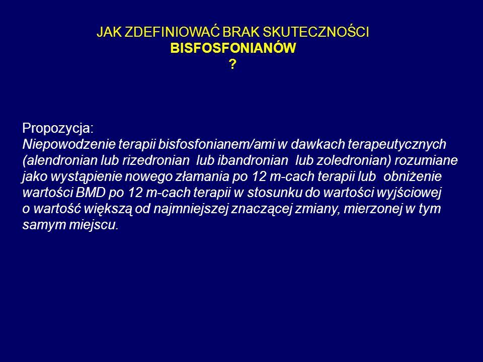 JAK ZDEFINIOWAĆ BRAK SKUTECZNOŚCI BISFOSFONIANÓW ? Propozycja: Niepowodzenie terapii bisfosfonianem/ami w dawkach terapeutycznych (alendronian lub riz