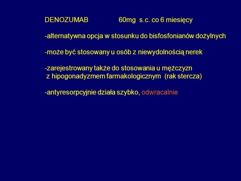 DENOZUMAB 60mg s.c. co 6 miesięcy -alternatywna opcja w stosunku do bisfosfonianów dożylnych -może być stosowany u osób z niewydolnością nerek -zareje