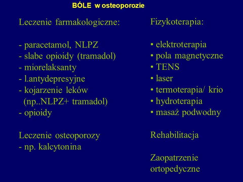 Leczenie farmakologiczne: - paracetamol, NLPZ - slabe opioidy (tramadol) - miorelaksanty - l.antydepresyjne - kojarzenie leków (np..NLPZ+ tramadol) -